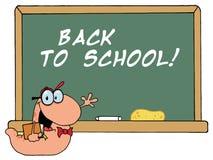 Kursteilnehmer-Bücherwurm durch A zurück zu Schule-Klassenzimmer Ch Stockfotos