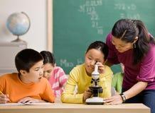 Kursteilnehmer, der durch Mikroskop blickt Stockbilder