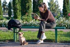 Kursteilnehmer, der ein Buch liest Stockbild