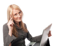Kursteilnehmer mit Laptop Lizenzfreies Stockfoto