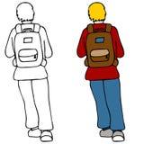 Kursteilnehmer-tragender Rucksack Stockfotos