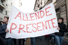 Kursteilnehmerdemonstration in Mailand 14. Dezember 2010 Stockfotografie