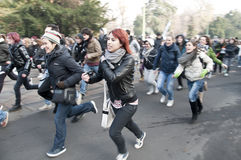 Kursteilnehmerdemonstration in Mailand 14. Dezember 2010 Lizenzfreies Stockfoto