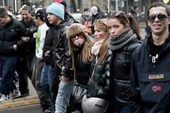 Kursteilnehmerdemonstration in Mailand 14. Dezember 2010 stockfotos