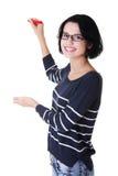 Kursteilnehmerfrauenschreiben etwas auf abstraktem Bildschirm Stockbilder