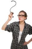 Kursteilnehmermädchen, das ein Fragezeichen zeichnet Lizenzfreie Stockfotos