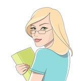 Kursteilnehmermädchen mit dem Buch stock abbildung