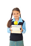Kursteilnehmermädchen mit Stapel Büchern Stockfotos