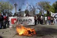 Kursteilnehmerprotest in Chile Stockbilder