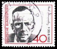 Kurt Schumacher (1895-1952), ogólnospołeczny demokratyczny polityk, seria, około 1972 fotografia royalty free