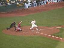 Kurt Suzuki ducks out of the way of a inside pitch Royalty Free Stock Image