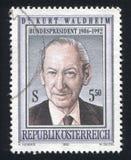 Kurt Waldheim. AUSTRIA - CIRCA 1992: stamp printed by Austria, shows Dr. Kurt Waldheim, circa 1992 Royalty Free Stock Photos