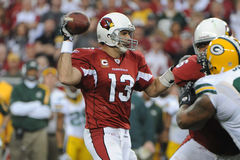 Kurt Warner. Of the Arizona's Cardinals had one of his best days as NFL Quarterback in leading the Arizona Cardinals to overtime win over the Green Bay Packers Royalty Free Stock Photo