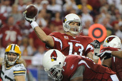 Kurt Warner passes for five Touchdowns. Kurt Warner of the Arizona's Cardinals had one of his best days as NFL Quarterback in leading the Arizona Cardinals to Royalty Free Stock Photo