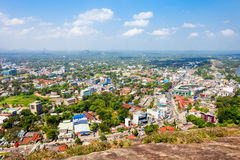 Kurunegala city aerial panoramic view. From Samadhi Buddha statue viewpoint on top of the Elephant rock, Sri Lanka Royalty Free Stock Photos