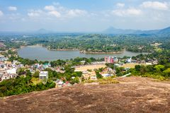 Kurunegala lake and city. Aerial panoramic view from Samadhi Buddha Statue viewpoint on top of the Elephant rock, Sri Lanka Royalty Free Stock Images