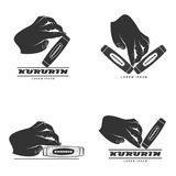 Hand fidget kururin logo set illustration. Kururin logo set illustration. Traditional Japanese hand toy kururin. Hand tricks. Badges, labels, banners, brochures royalty free illustration