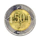 50 Kurus. Turkish 50 Kurus coin (Front) Isolated on white background Stock Image