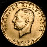 Kurush Ataturk Turkish Gold Coin (Gegenstücck) Lizenzfreie Stockfotos