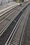 Kurva av spåret för järnvägdrev Arkivfoton