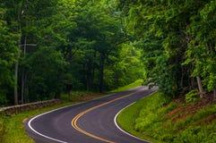 Kurva längs horisontdrev i den Shenandoah nationalparken arkivfoton