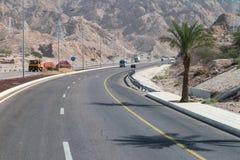 Kurva på huvudväg 15 i Jordanien arkivfoto