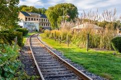 Kurven der Eisenbahn-Spur stockbilder