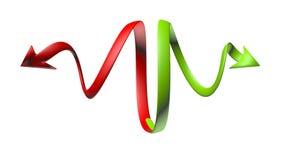 Kurven von grünen und roten Pfeilen mit einem Auftritt 3D Stockbild