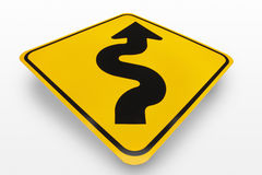 Kurven-voran Verkehrsschild Stockfotos