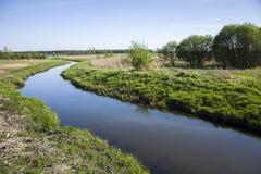 Kurvenfluß und -büsche auf dem Ufer stockfotos