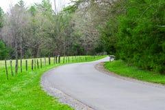 Kurvenreiche Straße in den rauchigen Bergen Tennessee Stockbild