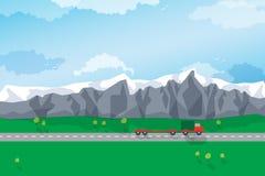 Kurvenreiche Straße durch eine Berglandschaft Vektor Lizenzfreie Stockbilder
