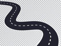 Kurvenreiche Straße lokalisierter transparenter Spezialeffekt Stockfotos