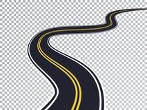 Kurvenreiche Straße lokalisierter transparenter Spezialeffekt Stockfotografie