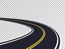 Kurvenreiche Straße lokalisierter transparenter Spezialeffekt Lizenzfreie Stockbilder