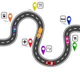 Kurvenreiche Straße mit Zeichen Der Weg angezeigt durch den Navigator Abbildung Stockbild
