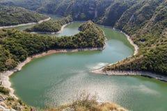 Kurvor av Uvac flodkanjon 2 fotografering för bildbyråer
