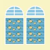 Kurvstålfönster royaltyfri illustrationer