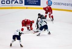 A. Kuryanov (17) and R. Horak (15) on faceoff. PODOLSK, RUSSIA - DECEMBER 4, 2016: A. Kuryanov (17) and R. Horak (15) on faceoff on hockey Stock Photos