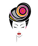 Kurze Frisurenikone, Logofrauengesicht Lizenzfreie Stockbilder