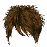 Kurze Haare der modischen Frau mit Franse Dunkelbraune Farbe Zwei dekorative Fahnen vektor abbildung
