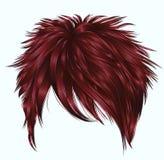 Kurze Haare der modischen Frau mit Franse Dunkelrote Farbe Zwei dekorative Fahnen lizenzfreie abbildung