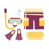 Kurze Hosen, Flossen, Schnorchel und Maske für das Tauchen Bunte Karikaturillustration lizenzfreie abbildung