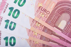 Kurze Schärfentiefe 10 Eurobanknoten Währung der Europäischen Gemeinschaft Stockbild