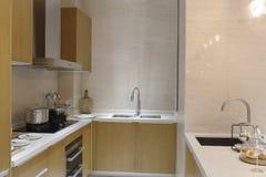 Kurze und lebhafte Küche in der Wohnung Stockfoto