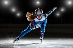 Kurzer Leichtathlet auf Eis Lizenzfreie Stockfotografie