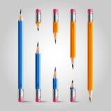 Kurzer und langer Bleistiftsatz Stockfoto