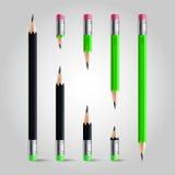Kurzer und langer Bleistiftsatz Stockfotos
