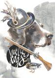 Kurzhaar designer för jägarehundkapplöpningkortet, den redigerbara logoen, kan du skriva in din logo eller text Arkivbild