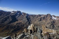 Kurzras Maso Corto - das Skiort Val Senales Glacier Schnalstaler Gletscher lizenzfreies stockbild